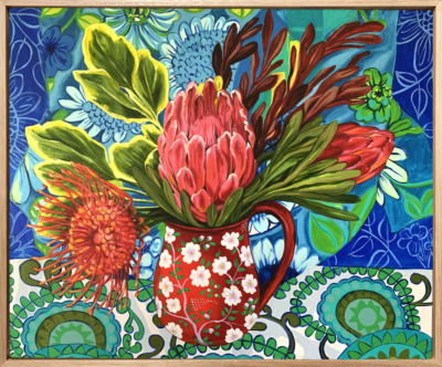 Alicia Cornwell Retro in blue with pollulating Proteas Framed