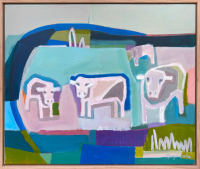 Margo Carlon Cattle At the Dam II