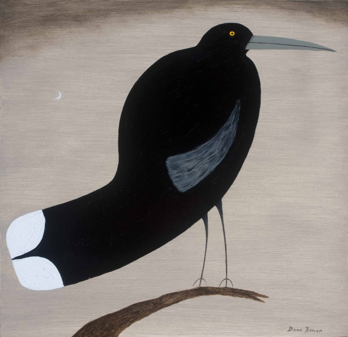 Balancing Currawong 2016 Oil On Board 30 X 30 Cm Dean Bowen Low Res