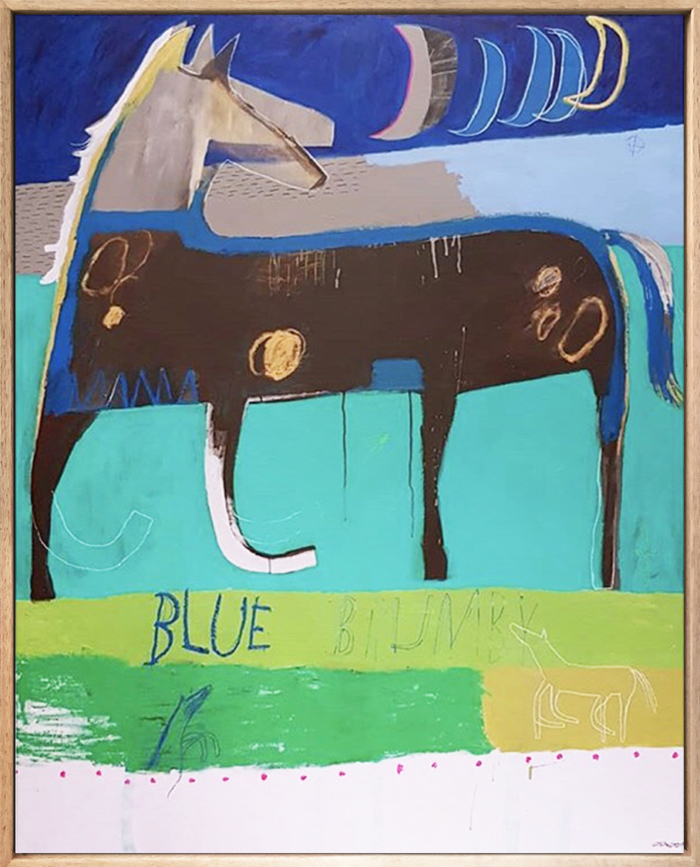 Angie Goto Blue Brumby Framed