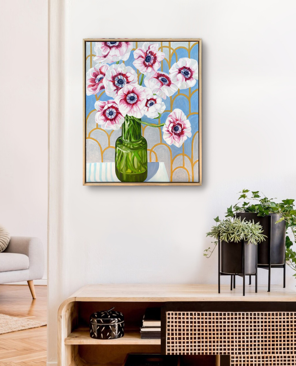 Alicia Cornwell Silver Anenomes and the Green Vase Framed insitu