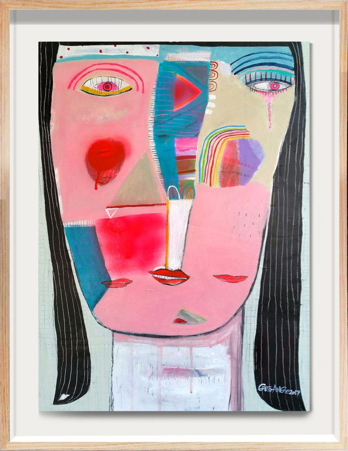 Angie Goto Weeping Girl Framed